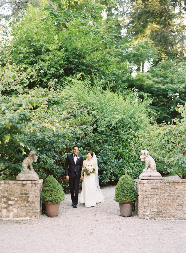 Jennifer and Salil in the garden after the wedding