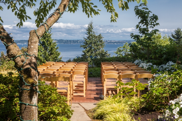 The wedding site overlooking the puget sound
