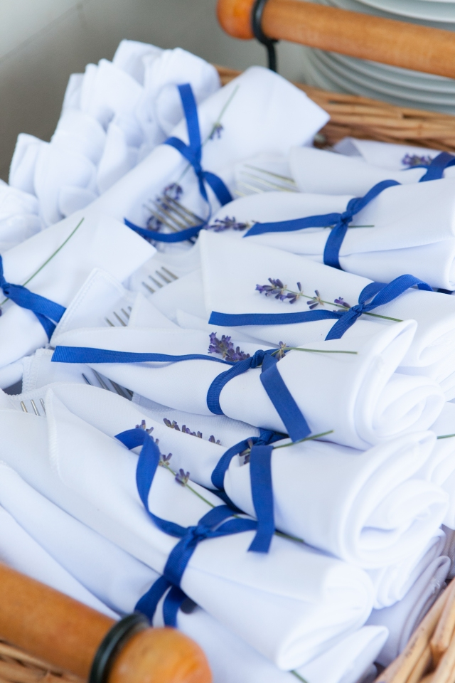 Napkins tied with lavender