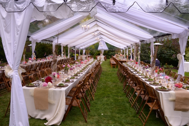 AA Party created custom draping for our clear tent