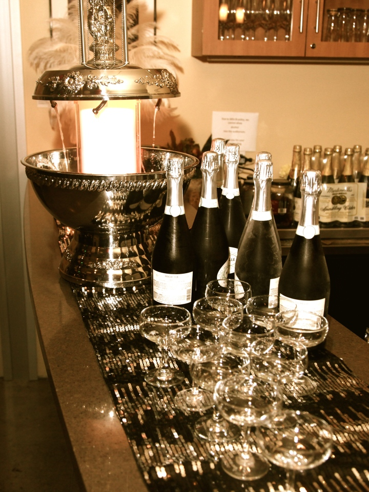 Festive drinks were served from the champagne fountain
